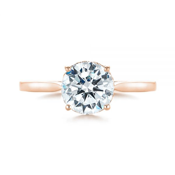 14k Rose Gold 14k Rose Gold Micro Pave Diamond Engagement Ring - Top View -  104125