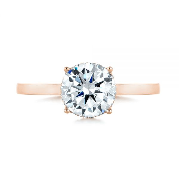 18K Rose Gold Micro Pave Diamond Engagement Ring - Top View -  104178 - Thumbnail