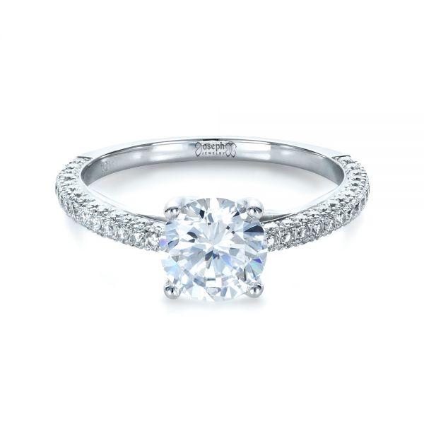 Platinum Micro-pave Diamond Engagement Ring - Flat View -
