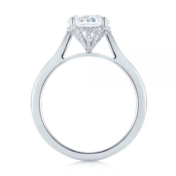 18k White Gold Micro Pave Diamond Engagement Ring - Front View -  104125