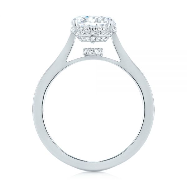 Platinum Micro Pave Diamond Engagement Ring - Front View -  104178 - Thumbnail