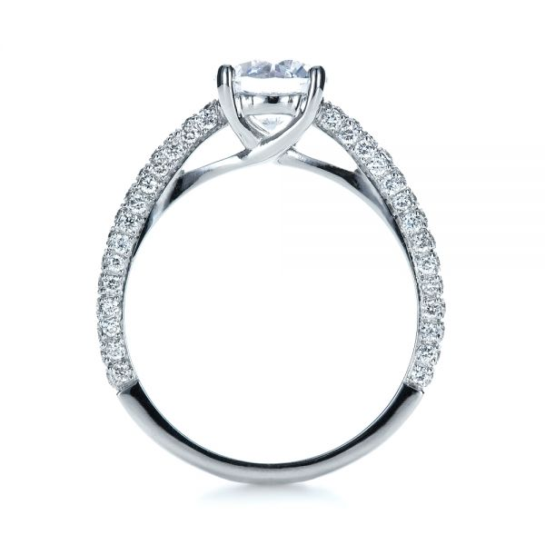 Platinum Micro-pave Diamond Engagement Ring - Front View -