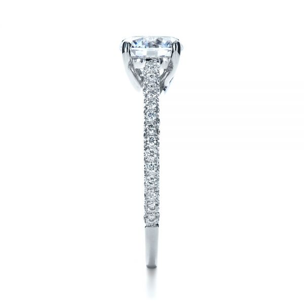 Platinum Micro-pave Diamond Engagement Ring - Side View -