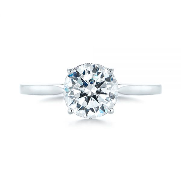 18k White Gold Micro Pave Diamond Engagement Ring - Top View -  104125