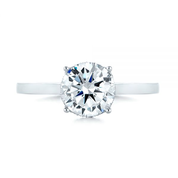 Platinum Micro Pave Diamond Engagement Ring - Top View -  104178 - Thumbnail