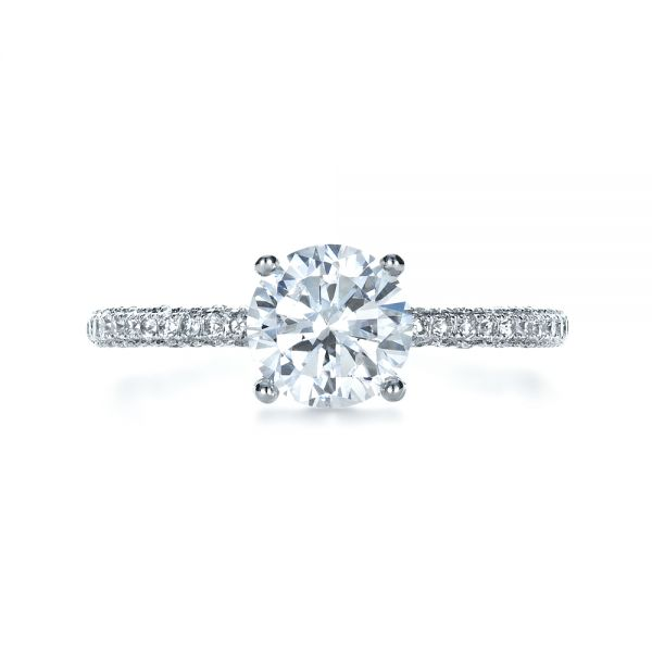 Micro-Pave Diamond Engagement Ring - Top View -  1379 - Thumbnail
