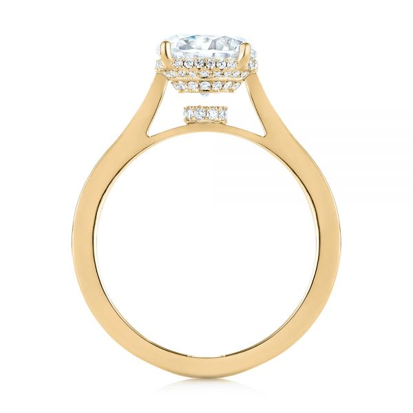 14K Yellow Gold Micro Pave Diamond Engagement Ring - Front View -  104178 - Thumbnail