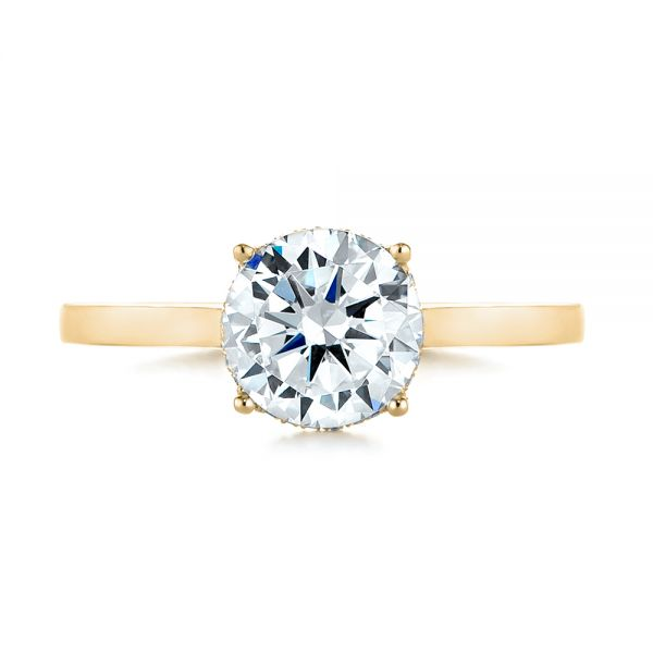 14K Yellow Gold Micro Pave Diamond Engagement Ring - Top View -  104178 - Thumbnail