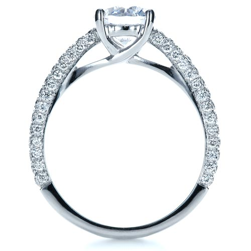 Micro-Pave Diamond Engagement Ring - Finger Through View