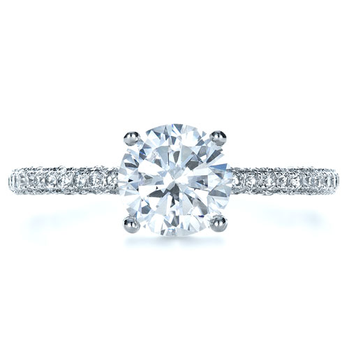 Micro-Pave Diamond Engagement Ring - Top View