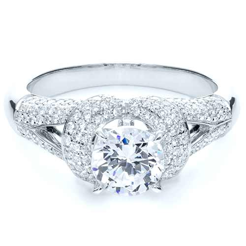 Micro-Pave Diamond Halo Engagement Ring - Vanna K