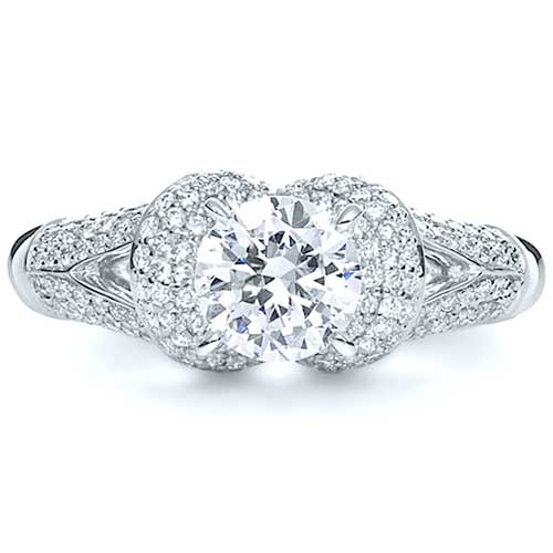 Micro-Pave Diamond Halo Engagement Ring - Vanna K - Top View