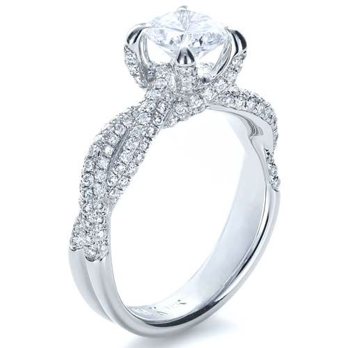 Micro-Pave Diamond Twisted Shank Engagement Ring - Vanna K - Image