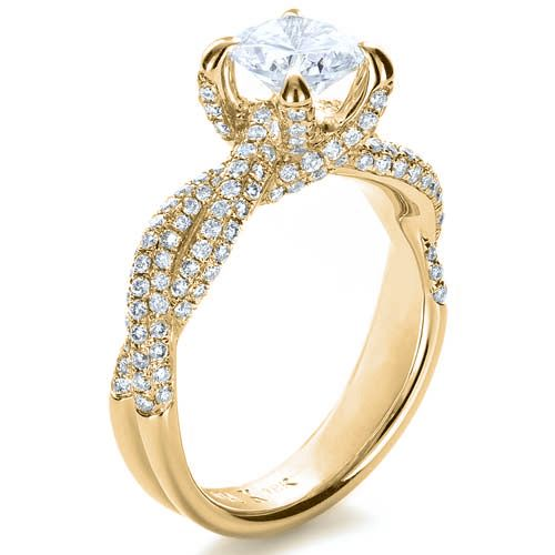 14k Yellow Gold 14k Yellow Gold Micro-pave Diamond Twisted Shank Engagement Ring - Vanna K - Three-Quarter View -