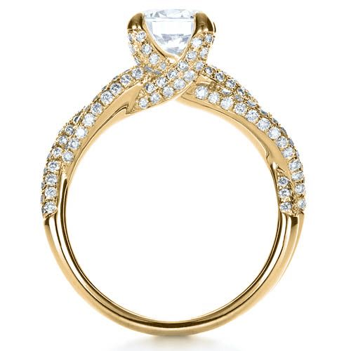 14k Yellow Gold 14k Yellow Gold Micro-pave Diamond Twisted Shank Engagement Ring - Vanna K - Front View -