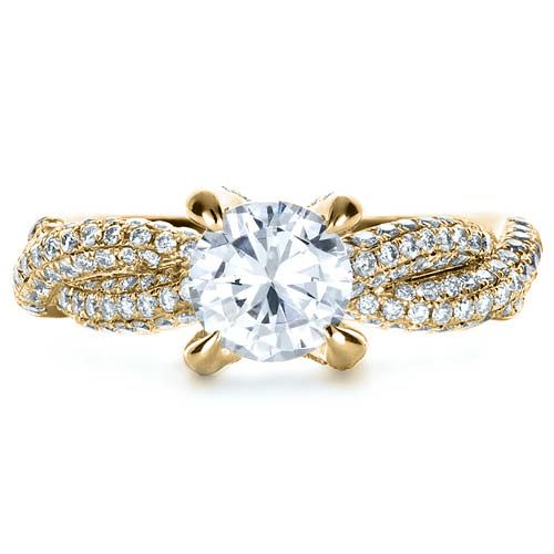 14k Yellow Gold 14k Yellow Gold Micro-pave Diamond Twisted Shank Engagement Ring - Vanna K - Top View -