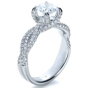 Micro-Pave Diamond Twisted Shank Engagement Ring - Vanna K