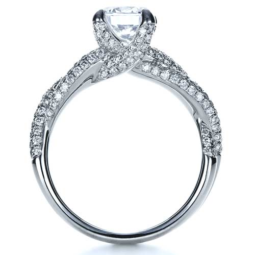 ... Micro-Pave Diamond Twisted Shank Engagement Ring - Vanna K - Finger  Through View ...