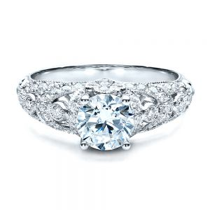 Micropave Diamond Engagement Ring - Vanna K