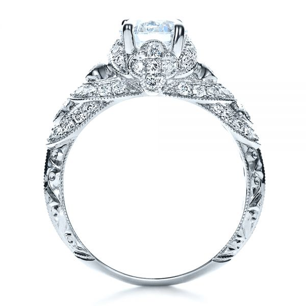 18k White Gold Micropave Diamond Engagement Ring - Vanna K - Front View -  1454