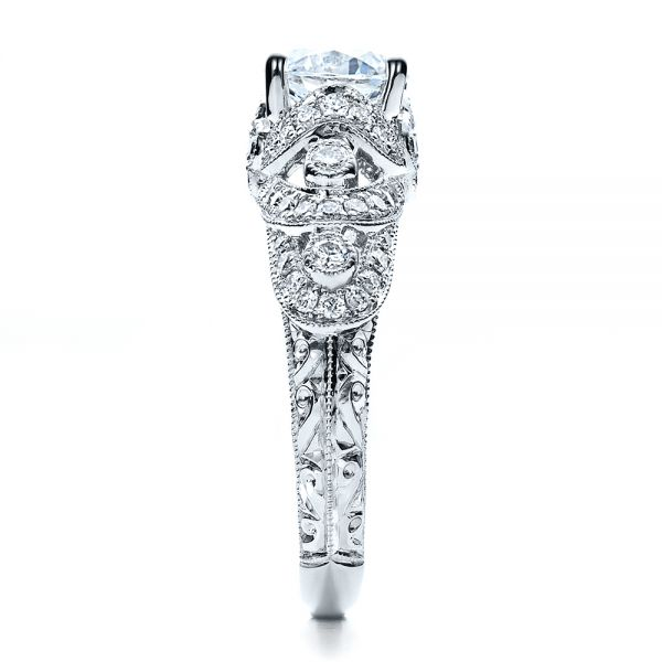 18k White Gold Micropave Diamond Engagement Ring - Vanna K - Side View -  1454