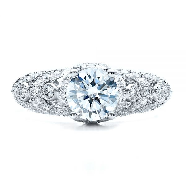 18k White Gold Micropave Diamond Engagement Ring - Vanna K - Top View -  1454