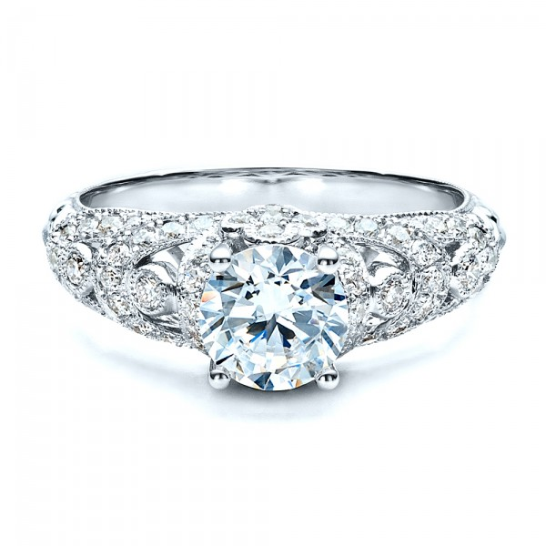 Micropave Diamond Engagement Ring - Vanna K - Laying View