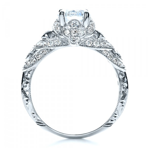 Micropave Diamond Engagement Ring - Vanna K - Finger Through View