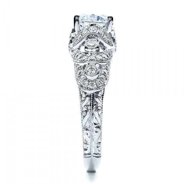 Micropave Diamond Engagement Ring - Vanna K - Side View