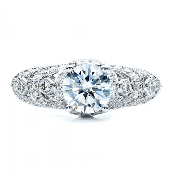 Micropave Diamond Engagement Ring - Vanna K - Top View