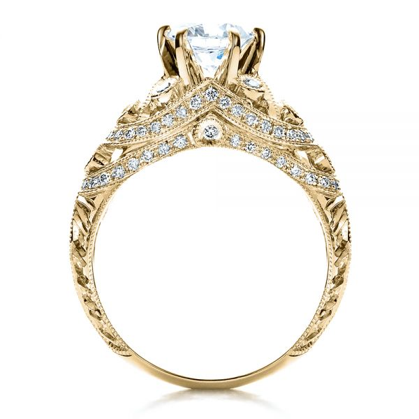14k Yellow Gold 14k Yellow Gold Micropave Milgrain Hand Engraved Engagement Ring - Vanna K - Front View -  1453