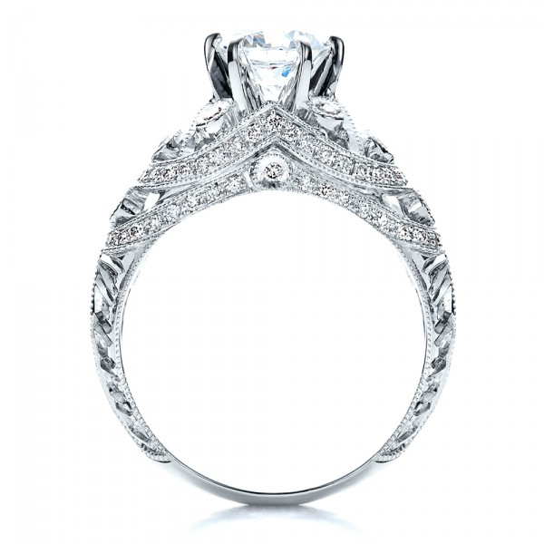 Micropave, Milgrain, Hand Engraved Engagement Ring - Vanna K - Finger Through View