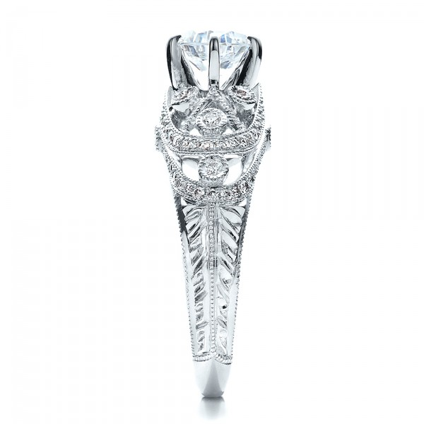 Micropave, Milgrain, Hand Engraved Engagement Ring - Vanna K - Side View