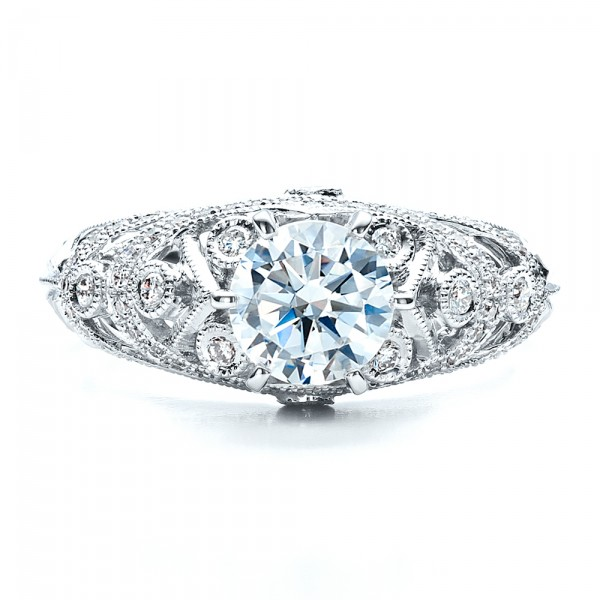Micropave, Milgrain, Hand Engraved Engagement Ring - Vanna K - Top View