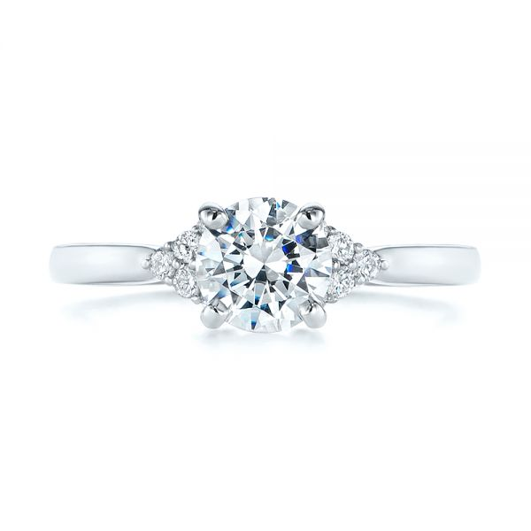 18k White Gold Minimalist Cluster Diamond Engagement Ring - Top View -  105177