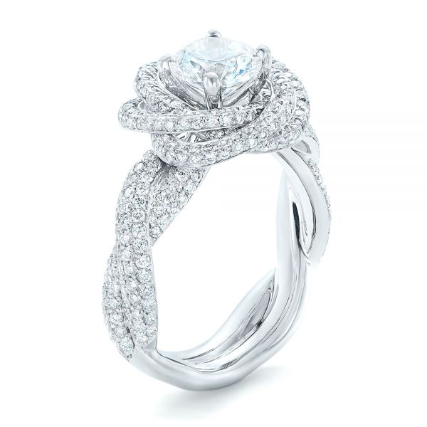18k White Gold Modern Knot Edgeless Pave Engagement Ring - Three-Quarter View -  102374