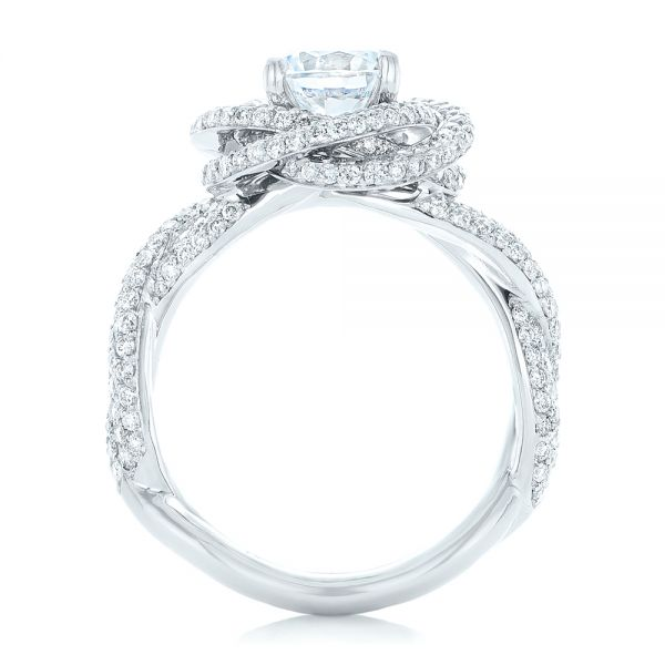 18k White Gold Modern Knot Edgeless Pave Engagement Ring - Front View -  102374