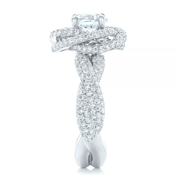 18k White Gold Modern Knot Edgeless Pave Engagement Ring - Side View -  102374