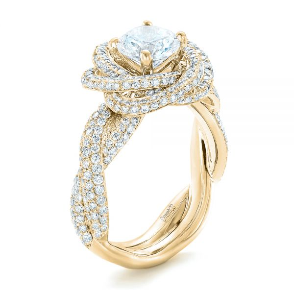 Modern Knot Edgeless Pave Engagement Ring