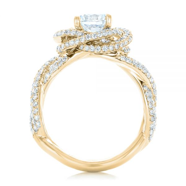 14K Yellow Gold Modern Knot Edgeless Pave Engagement Ring - Front View -  102374 - Thumbnail