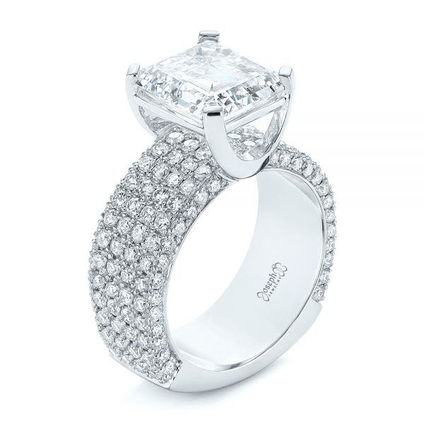 Modern Pave Diamond Engagement Ring - Three-Quarter View -  105188 - Thumbnail