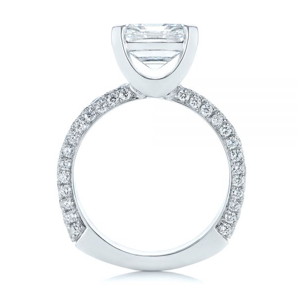 Modern Pave Diamond Engagement Ring - Front View -  105188 - Thumbnail