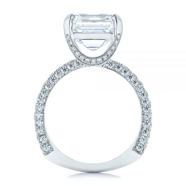 Platinum Modern Pave Diamond Engagement Ring - Front View -  105711 - Thumbnail