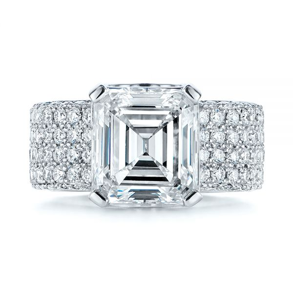 Modern Pave Diamond Engagement Ring - Top View -  105188 - Thumbnail