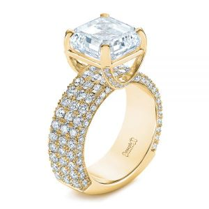 Modern Pave Diamond Engagement Ring - Image