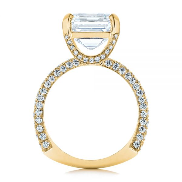 18k Yellow Gold 18k Yellow Gold Modern Pave Diamond Engagement Ring - Front View -  105711