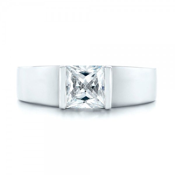 Modern Solitaire Diamond Engagement Ring - Image
