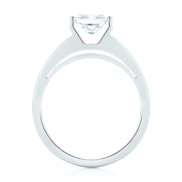Modern Solitaire Diamond Engagement Ring - Finger Through View