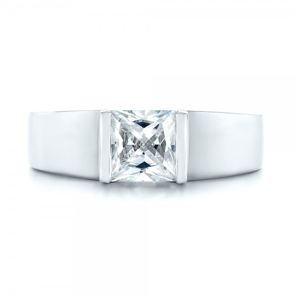 Modern Solitaire Diamond Engagement Ring - Top View
