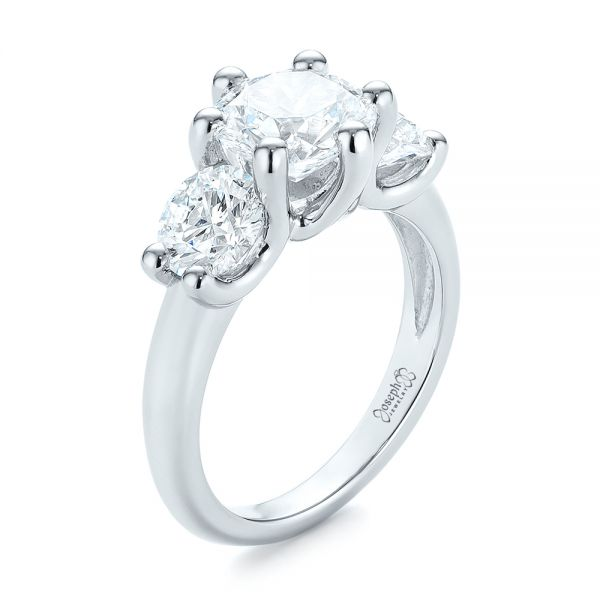 Modern Three Stone Diamond Engagement Ring - Image